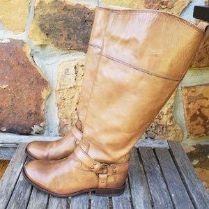 Frye Melissa harness inside zip extended calf boot